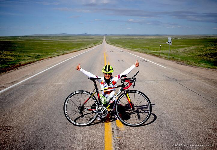 Ciclista in sicurezza